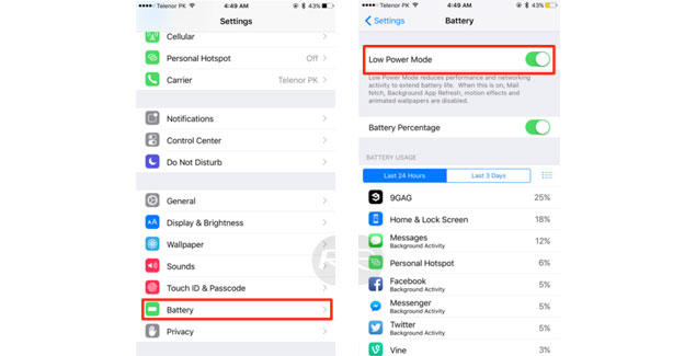 low power mode ios 9